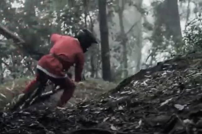 Video: Santa's Nighttime Rip on a DH Bike